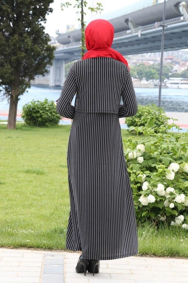 Çizgili Siyah Beyaz Elbise 2042-01