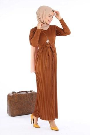 Beli Kuşaklı Kolyeli Pilise Elbise 1612-02 - Thumbnail