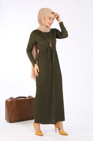 Beli Kuşaklı Kolyeli Pilise Elbise 1612-03 - Thumbnail