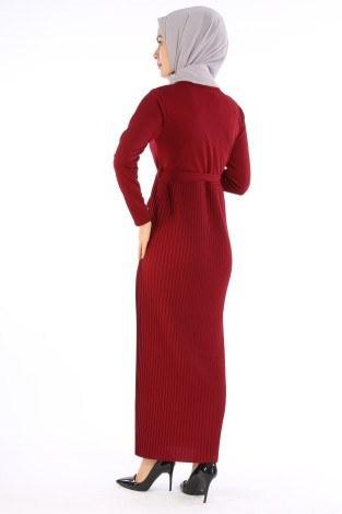 Beli Kuşaklı Kolyeli Pilise Elbise 1612-04 - Thumbnail
