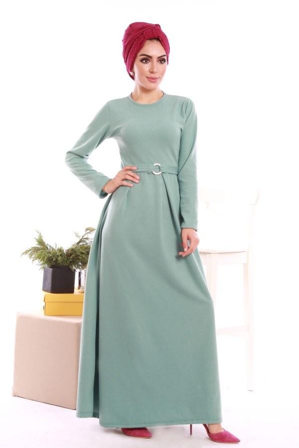 - Beli Kuşaklı Selanlik Örme Elbise 6355-02