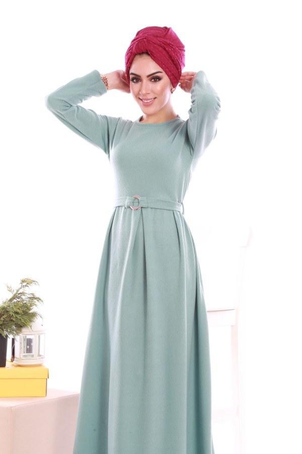 - Beli Kuşaklı Selanlik Örme Elbise 6355-02 (1)