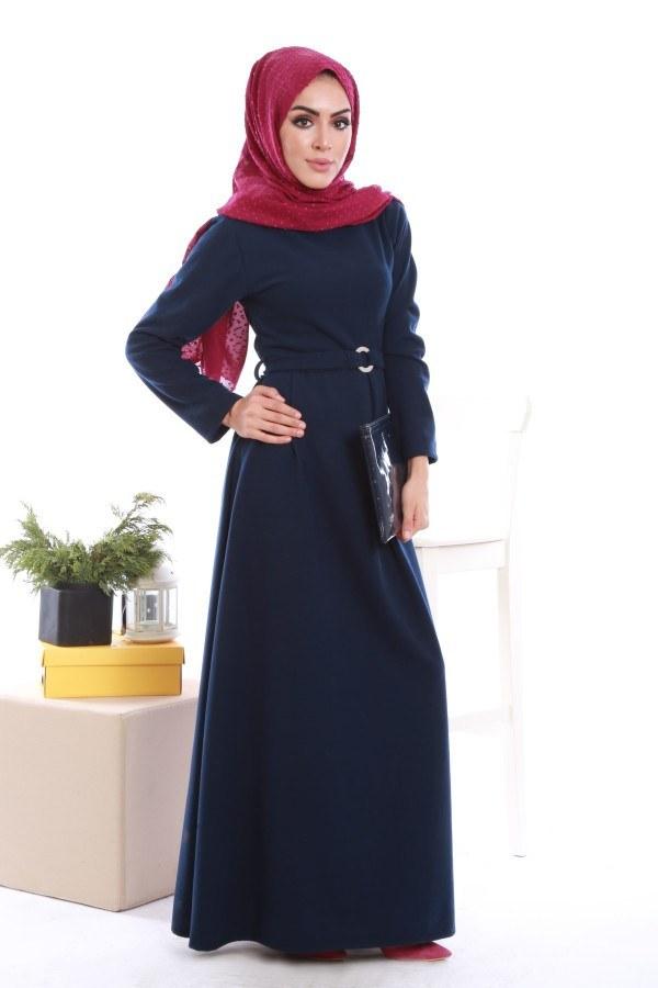 - Beli Kuşaklı Selanlik Örme Elbise 6355-04
