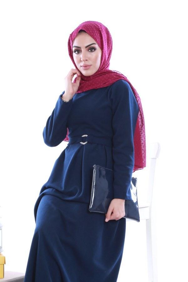 - Beli Kuşaklı Selanlik Örme Elbise 6355-04 (1)