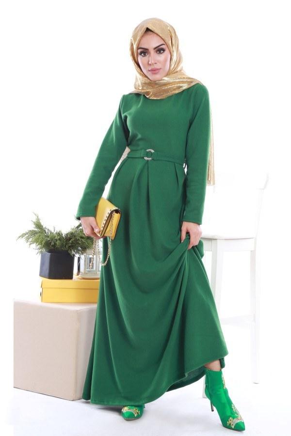 - Beli Kuşaklı Selanlik Örme Elbise 6355-05