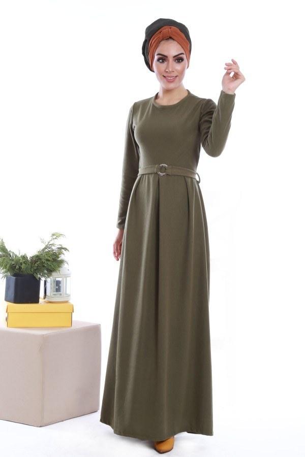 - Beli Kuşaklı Selanlik Örme Elbise 6355-07