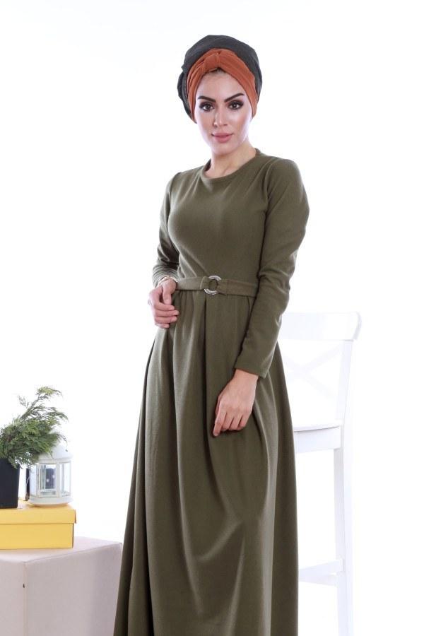 - Beli Kuşaklı Selanlik Örme Elbise 6355-07 (1)
