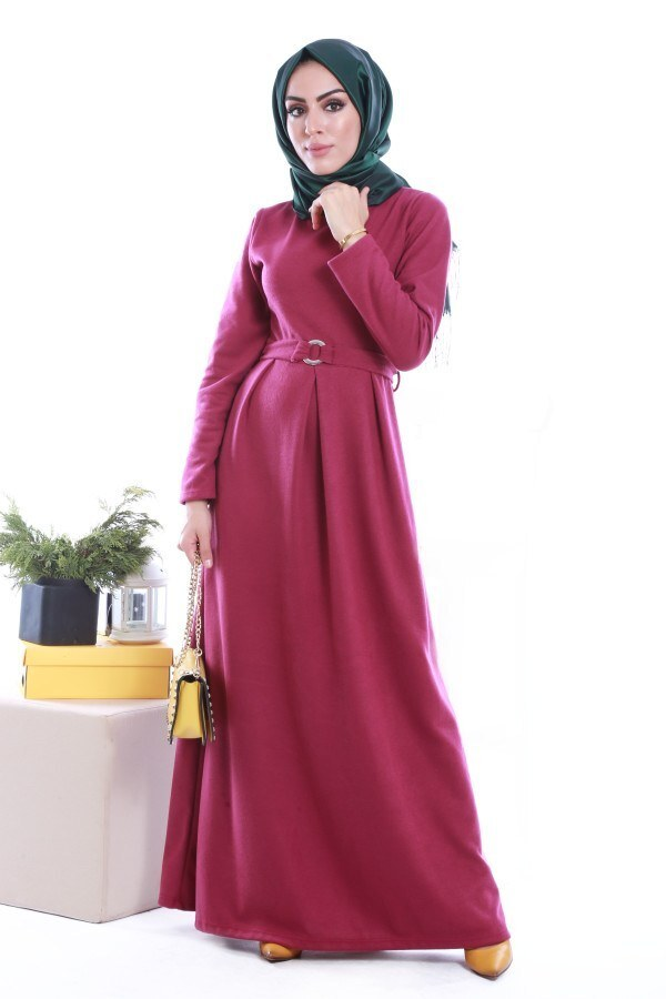 - Beli Kuşaklı Selanlik Örme Elbise 6355-08