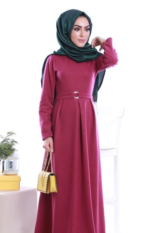 - Beli Kuşaklı Selanlik Örme Elbise 6355-08 (1)