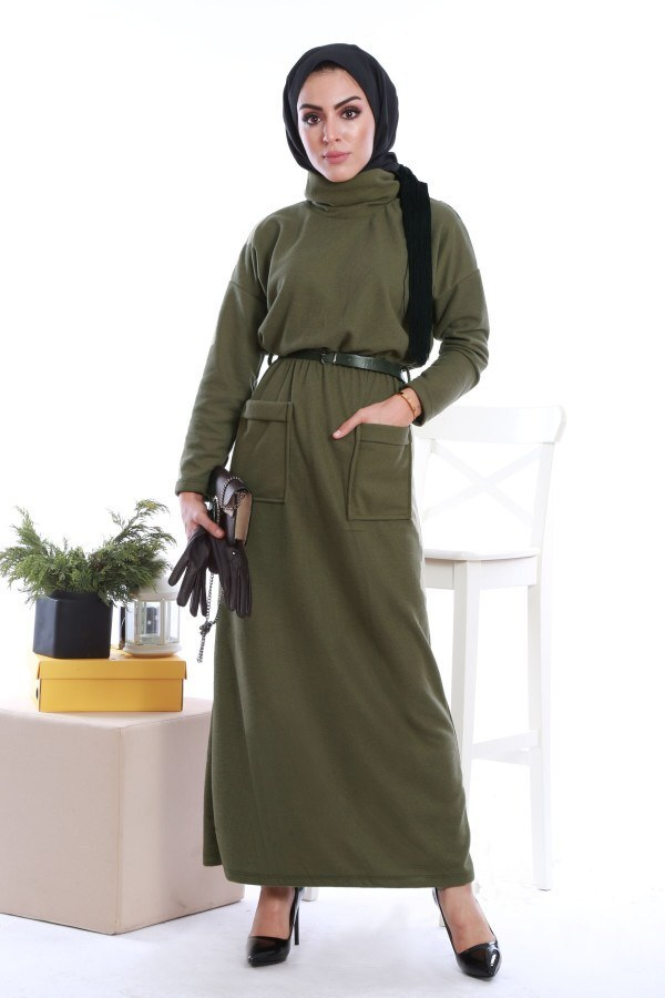 - Önü cepli beli kemerli Selanlik Örme Elbise 6356-01