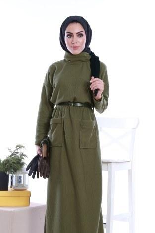 - Önü cepli beli kemerli Selanlik Örme Elbise 6356-01 (1)