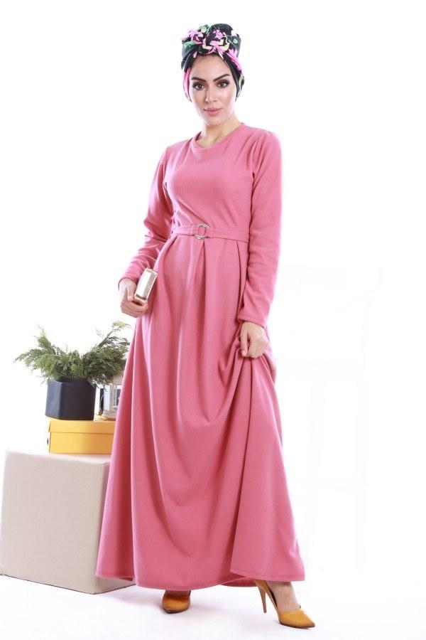 - Beli Kuşaklı Selanlik Örme Elbise 6355-11