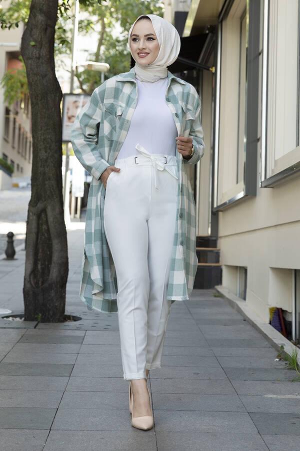 Beli Lastikli Tesettür Kumaş Pantolon Beyaz