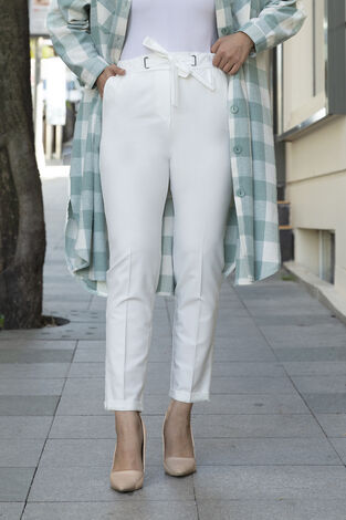 Beli Lastikli Tesettür Kumaş Pantolon Beyaz - Thumbnail