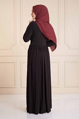 Beli Pul Payet Detaylı Sandy Elbise 190E4792 Siyah - Thumbnail
