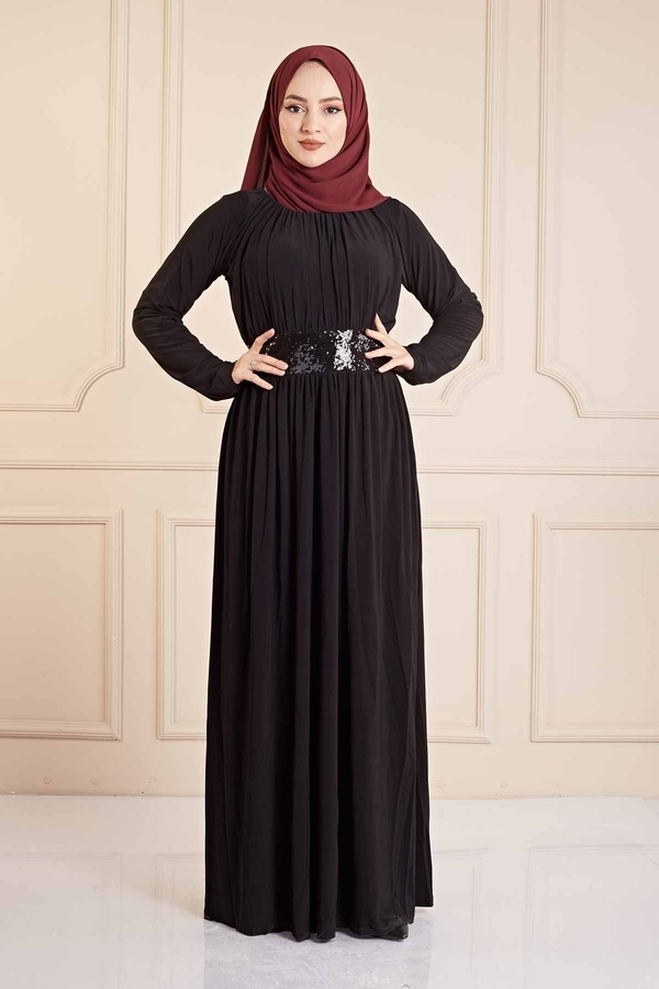 Beli Pul Payet Detaylı Sandy Elbise 190E4792 Siyah