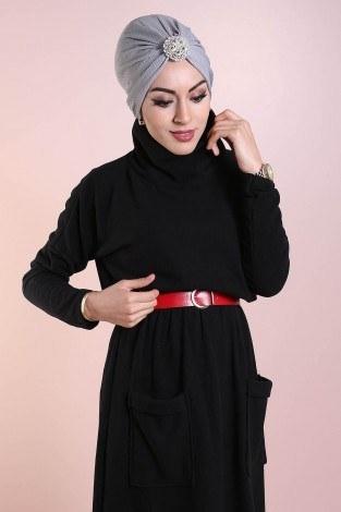 - Beli Büzgülü Selanik Örme Elbise 8450-1 (1)