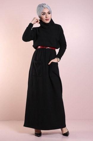 - Beli Büzgülü Selanik Örme Elbise 8450-1