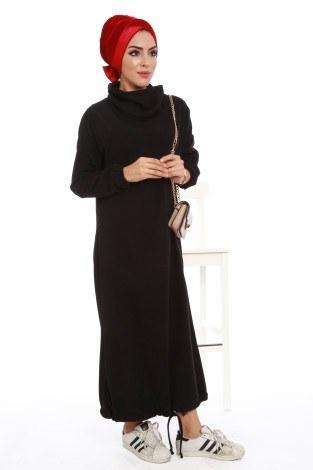 - Boğazlı Selanik Örme Elbise 8766-07
