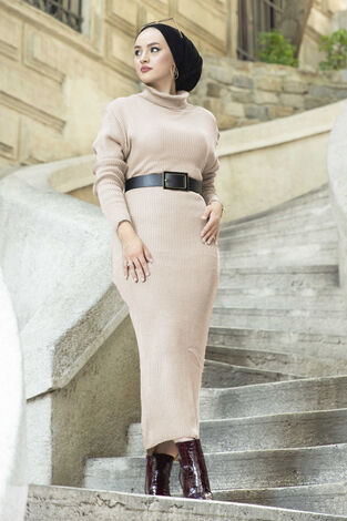 Boğazlı Triko Elbise Bej - Thumbnail
