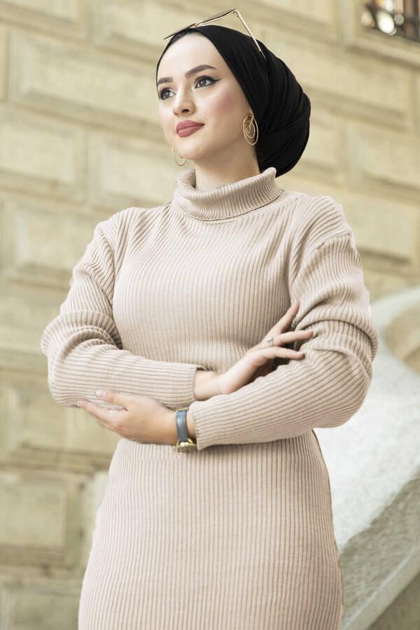 Boğazlı Triko Elbise Bej