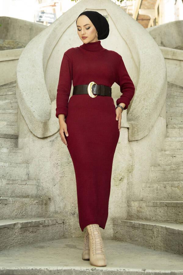 Boğazlı Triko Elbise Bordo