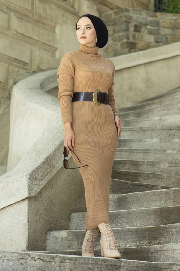 Boğazlı Triko Elbise Camel