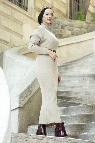 Boğazlı Triko Elbise Ekru - Thumbnail