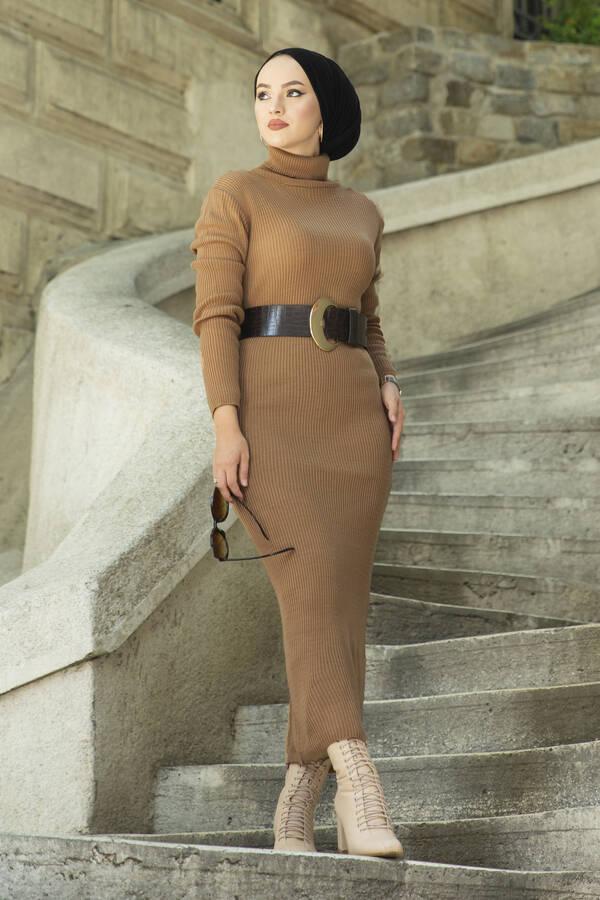 Boğazlı Triko Elbise Fındık Kabuğu