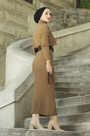 Boğazlı Triko Elbise Fındık Kabuğu - Thumbnail