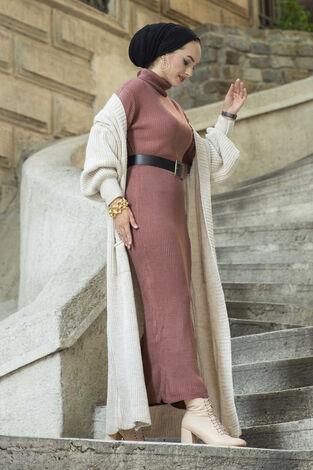 Boğazlı Triko Elbise Gülkurusu - Thumbnail