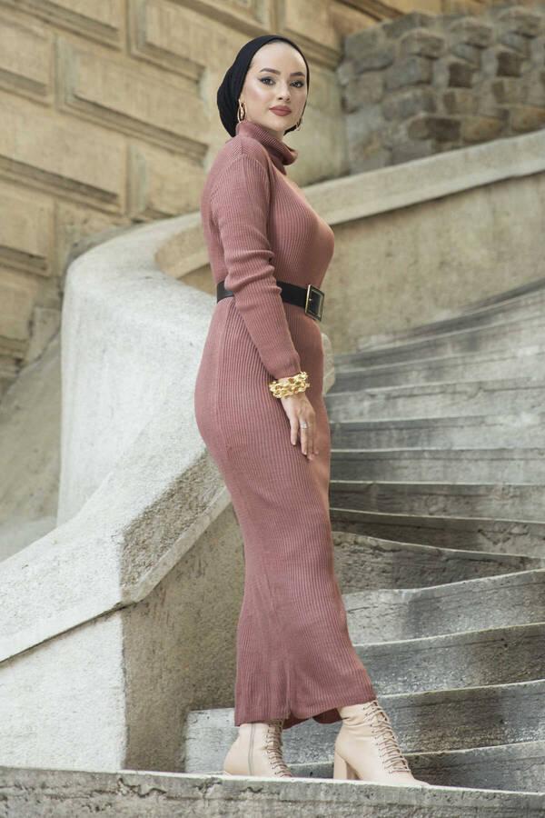 Boğazlı Triko Elbise Gülkurusu