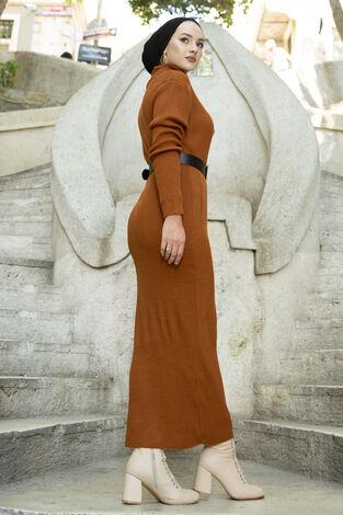 Boğazlı Triko Elbise Kiremit - Thumbnail