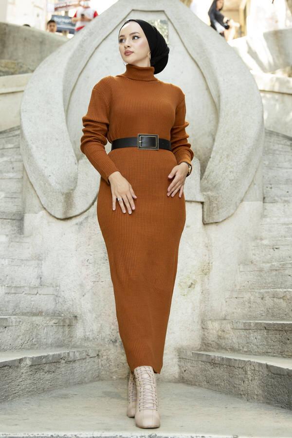 Boğazlı Triko Elbise Kiremit