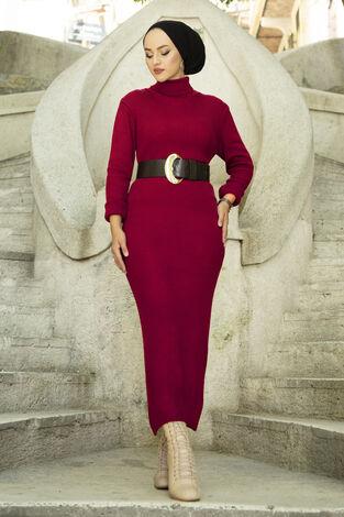 Boğazlı Triko Elbise Kırmızı - Thumbnail