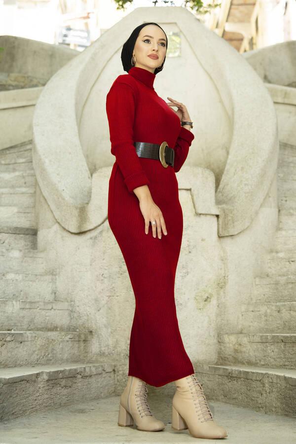 Boğazlı Triko Elbise Kırmızı
