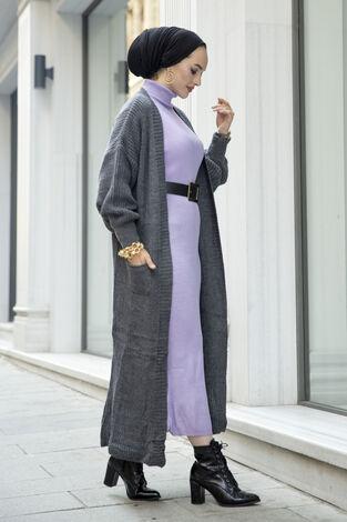 Boğazlı Triko Elbise Lila - Thumbnail