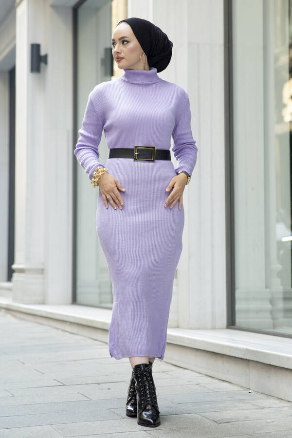 Boğazlı Triko Elbise Lila