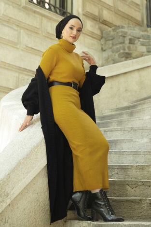 Boğazlı Triko Elbise Sarı - Thumbnail
