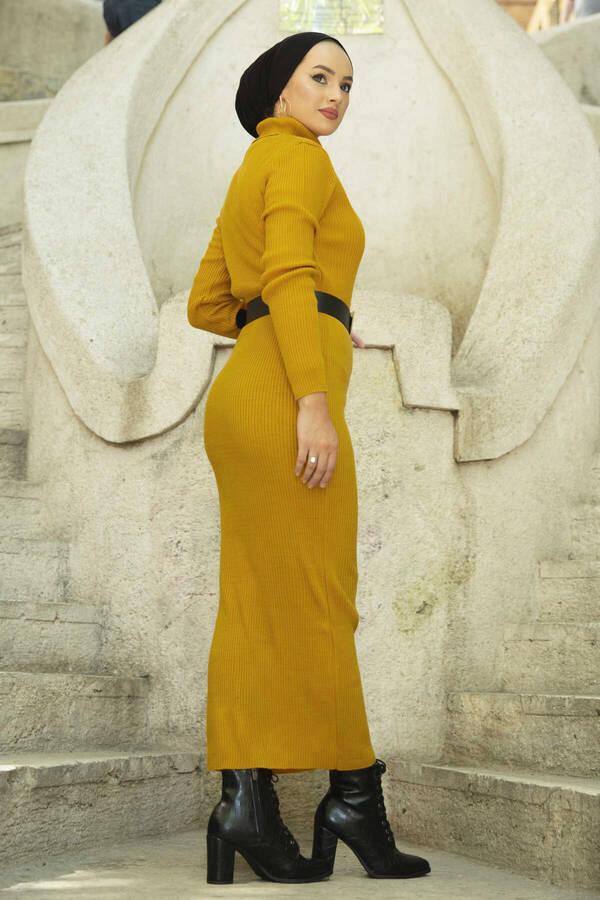 Boğazlı Triko Elbise Sarı