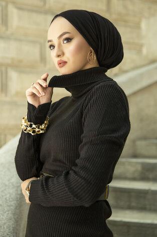 Boğazlı Triko Elbise Siyah - Thumbnail