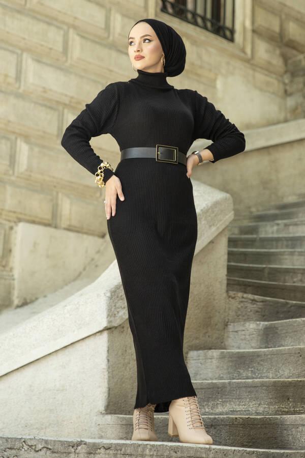 Boğazlı Triko Elbise Siyah