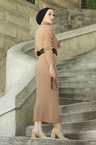 Boğazlı Triko Elbise Sütlü Kahve - Thumbnail