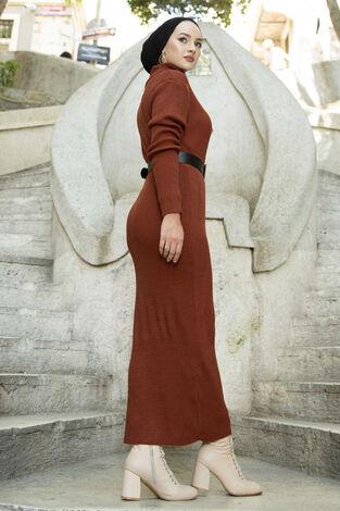 Boğazlı Triko Elbise Taba - Thumbnail