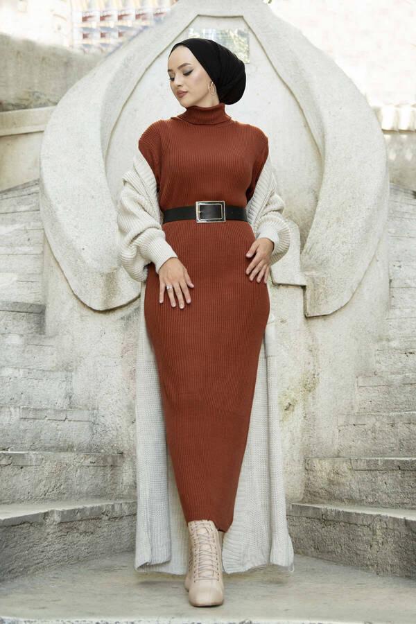 Boğazlı Triko Elbise Taba