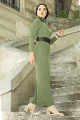 Boğazlı Triko Elbise Yeşil - Thumbnail