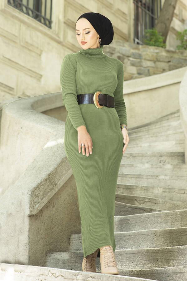 Boğazlı Triko Elbise Yeşil