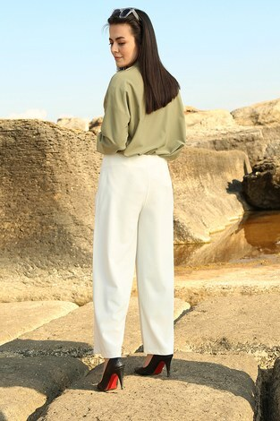 - Bol Kesim Pantolon 4675-2 Beyaz (1)