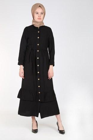 - Boydan Düğmeli Büzgülü Elbise 157901-1 Siyah