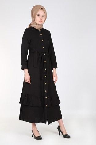 - Boydan Düğmeli Büzgülü Elbise 157901-1 Siyah (1)